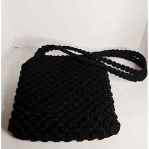 Crochet Purse Black 2 Strap Lined Purse